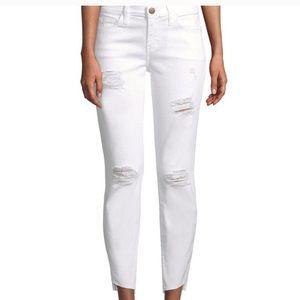 Current Elliott stiletto distressed white jeans 31